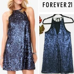 Forever 21 Blue Navy Sequin Cocktail Dress up Sz S